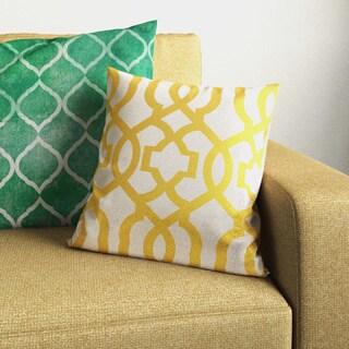 Porch & Den Newport Barnum Geometric Gold/ Linen 16.5-inch Throw Pillow