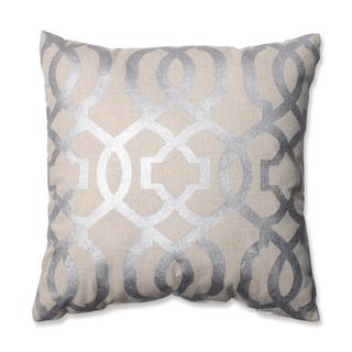 Pillow Perfect Geometric Silver/Linen 16.5-inch Throw Pillow