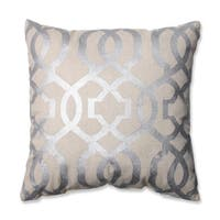 Pillow Perfect Geometric Silver/Linen 16.5-inch Throw Pillow