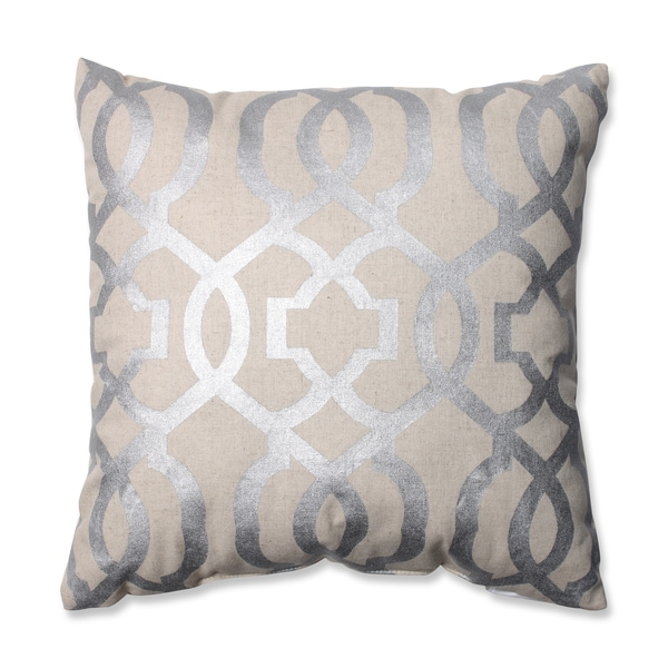 Shop Pillow Perfect Geometric Silver Linen 16 5 Inch Throw