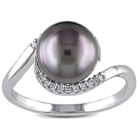 Miadora Silver Tahitian Pearl and 1/10ct TDW Diamond Ring (H-I, I2-I3)
