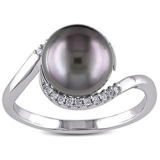 Miadora Silver Tahitian Pearl and 1/10ct TDW Diamond Ring (H-I, I2-I3)