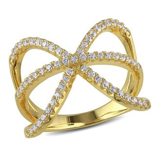 Miadora Yellow Plated Silver Cubic Zirconia Bow Ring
