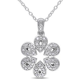 Miadora Sterling Silver 1/6ct TDW Diamond Flower Necklace