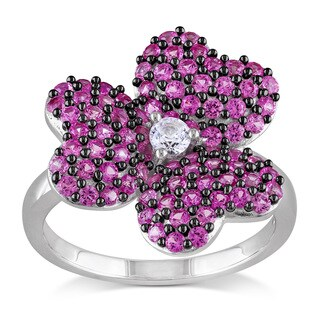 Miadora Sterling Silver Created White and Pink Sapphire Flower Ring
