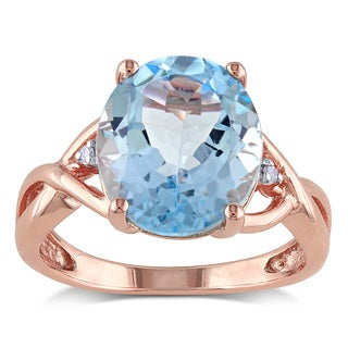 Miadora Rose Plated Silver 5 /12ct TGW Blue Topaz and Diamond Accent Cocktail Ring