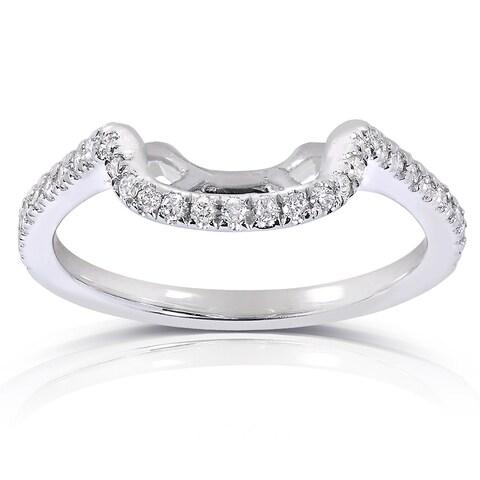 Annello 14k White Gold 1/5ct TDW Diamond Curved Wedding Band