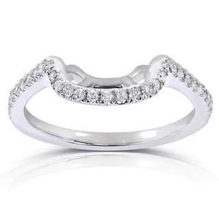 Annello 14k White Gold 1/5ct TDW Diamond Curved Wedding Band (G-H, I1-I2)
