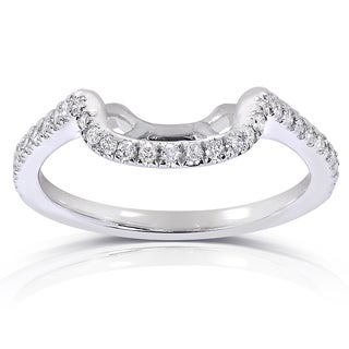 Annello 14k White Gold 1/5ct TDW Diamond Curved Wedding Band