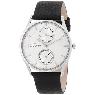 Skagen Men's SKW6065 Grenen Multi-Function Silver Dial Black Leather Watch