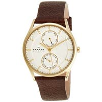 Skagen Men's SKW6066 Holst Multi-Function White Dial Brown Leather Watch