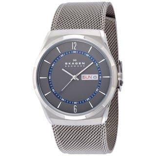 Skagen Men's SKW6078 Melbye Analog Grey Dial Stainless Steel Mesh Bracelet Watch|https://ak1.ostkcdn.com/images/products/9437294/P16622996.jpg?impolicy=medium