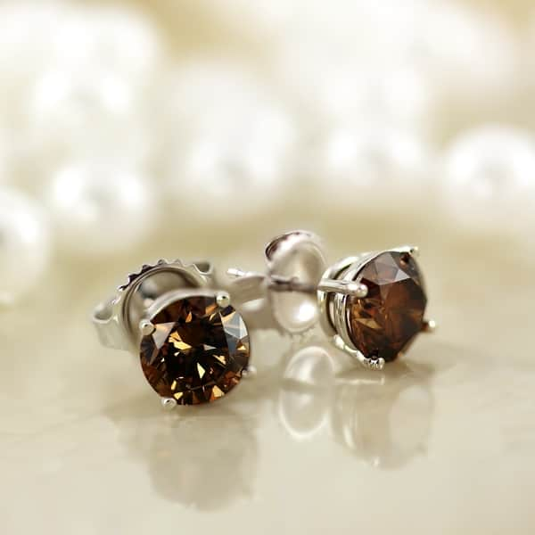 Auriya 14k Gold 1 4 To 2ctw Brown Diamond Stud Earrings On Sale Overstock 9437303