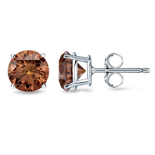 Auriya 1 2ct To Tdw Round Brown Diamond Stud Earrings 14k White Gold