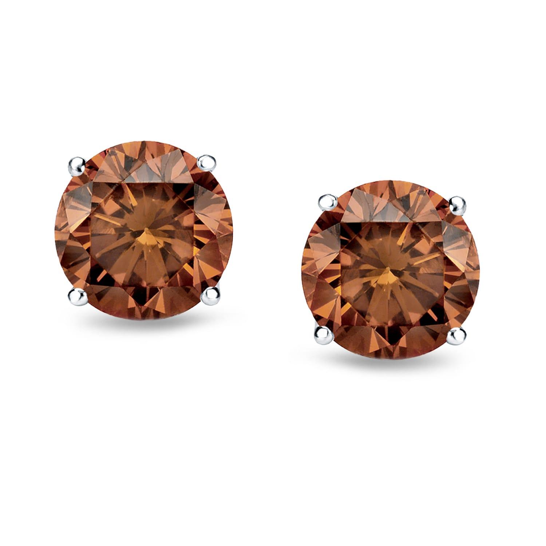 Auriya Round Brown Diamond Stud Earrings 1 2 To 2ct Tw 14k White Gold