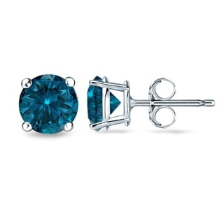 Auriya 14k White Gold 1/2ct to 2ct TDW 4-Prong Blue Diamond Stud Earrings (I1-I2)
