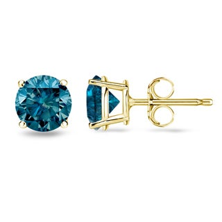 Auriya 14k Yellow Gold 4-Prong Blue Diamond Stud Earrings (I1-I2)