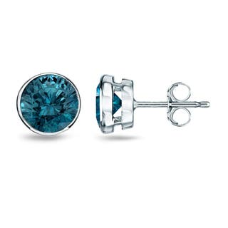 Auriya Bezel Set Blue Diamond Stud Earrings 1/2ct to 4ct TW 14k White Gold