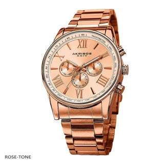 Akribos XXIV Men's Multifunction Tachymeter Stainless Steel Bracelet Watch (Option: Rose-Tone)