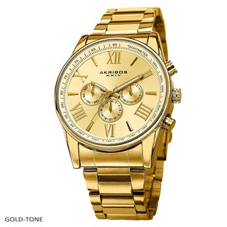 Akribos XXIV Men's Multifunction Tachymeter Stainless Steel Bracelet Watch (Option: Gold-tone)