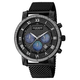 Akribos XXIV Men's Chronograph Sparkling Pave Dial Mesh Black Strap Watch
