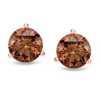 14k Rose Gold Round 1/2ct to 2ct TDW 3-Prong Martini Set Brown Diamond Stud Earrings by Auriya