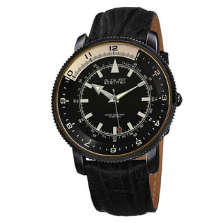 August Steiner Men's Swiss Quartz Tachymeter Leather Black Strap Watch