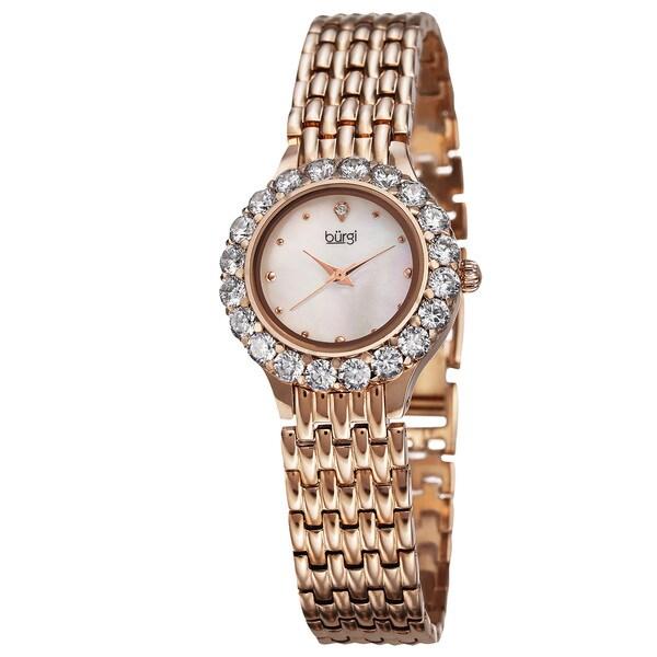 Burgi Women's Swiss Quartz Crystal-Accented Rose-Tone Bracelet Watch