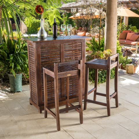 Riviera 3-piece Outdoor Wood Bar Set by Christopher Knight Home