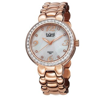 Burgi Women's Swiss Quartz Diamond Stainless Steel Rose-Tone Bracelet Watch