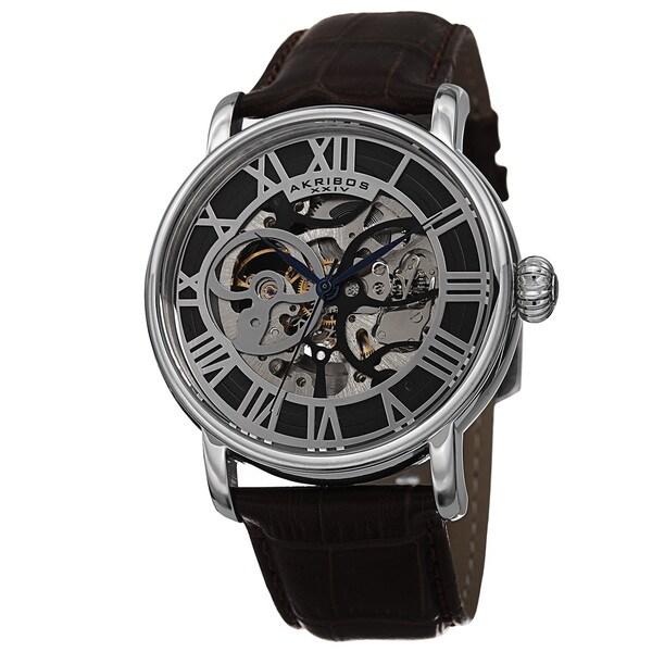 Akribos XXIV Men's Automatic Skeleton Round Leather Brown Strap Watch