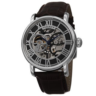 Akribos XXIV Men's Automatic Skeleton Round Leather Brown Strap Watch