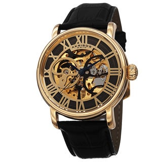Akribos XXIV Men's Mechanical Skeleton Round Leather Gold-Tone Strap Watch with Gift Box