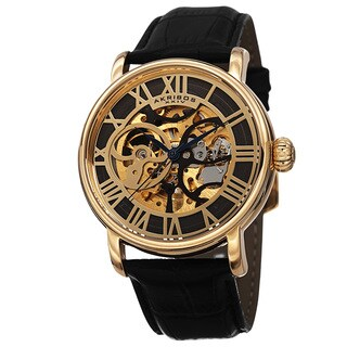 Akribos XXIV Men's Mechanical Skeleton Round Leather Gold-Tone Strap Watch
