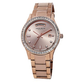 Akribos XXIV Women's Crystal Bezel Stainless Steel Rose-Tone Bracelet Watch