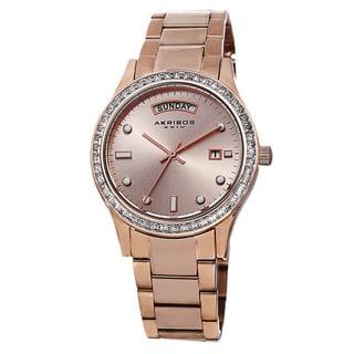 Akribos XXIV Women's Crystal Bezel Stainless Steel Rose-Tone Bracelet Watch