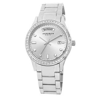Akribos XXIV Women's Crystal Bezel Stainless Steel Silver-Tone Bracelet Watch
