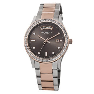 Akribos XXIV Women's Crystal Bezel Stainless Steel Two-Tone Bracelet Watch