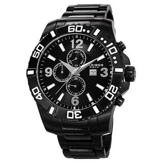 Akribos XXIV Men's Quartz Stainless Steel Multifunction Dual-Time Black Bracelet Watch