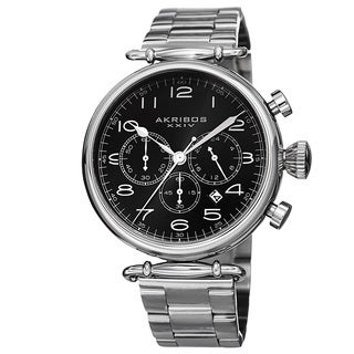 Akribos XXIV Men's Quartz Chronograph Stainless Steel Silver-Tone Bracelet Watch