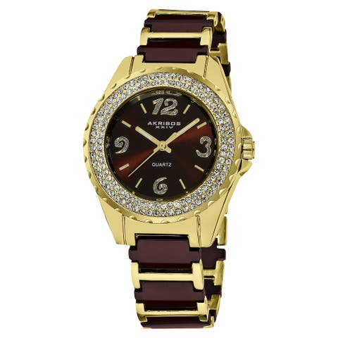 Akribos XXIV Women's Crystal-Accented Quartz Ceramic Rose-Tone Bracelet Watch