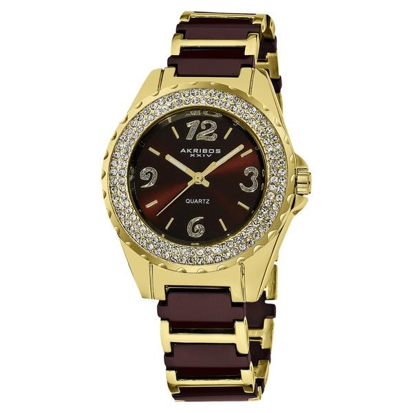 Akribos XXIV Women's Crystal-Accented Quartz Ceramic Rose-Tone Bracelet Watch. Opens flyout.