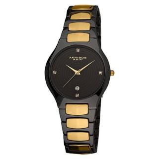 Akribos XXIV Women's Quartz Crystal Markers Slim Ceramic Black Bracelet Watch