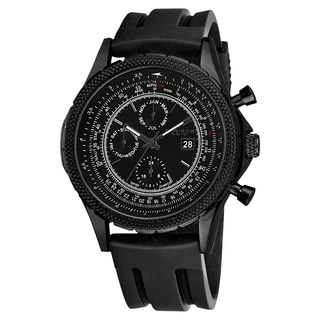 Akribos XXIV Men's Multifunction Swiss Quartz Rubber Black Strap Watch