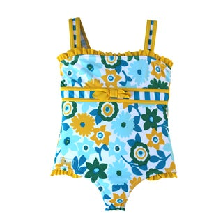 Azul Swimwear Dear Daisy Girls Floral and Striped One-piece Swimsuit