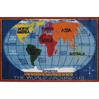 Youth Map of the World Multicolored Nylon Accent Rug (2'6 x 3'9)