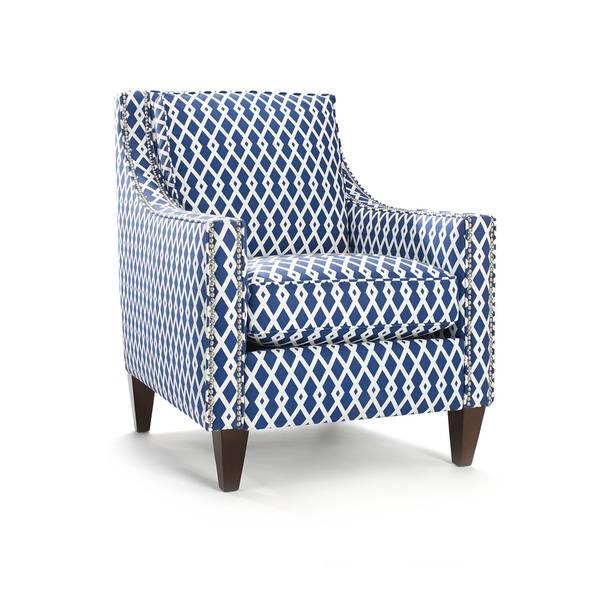 Pryce Ultramarine Geometric Pattern Arm Chair Free