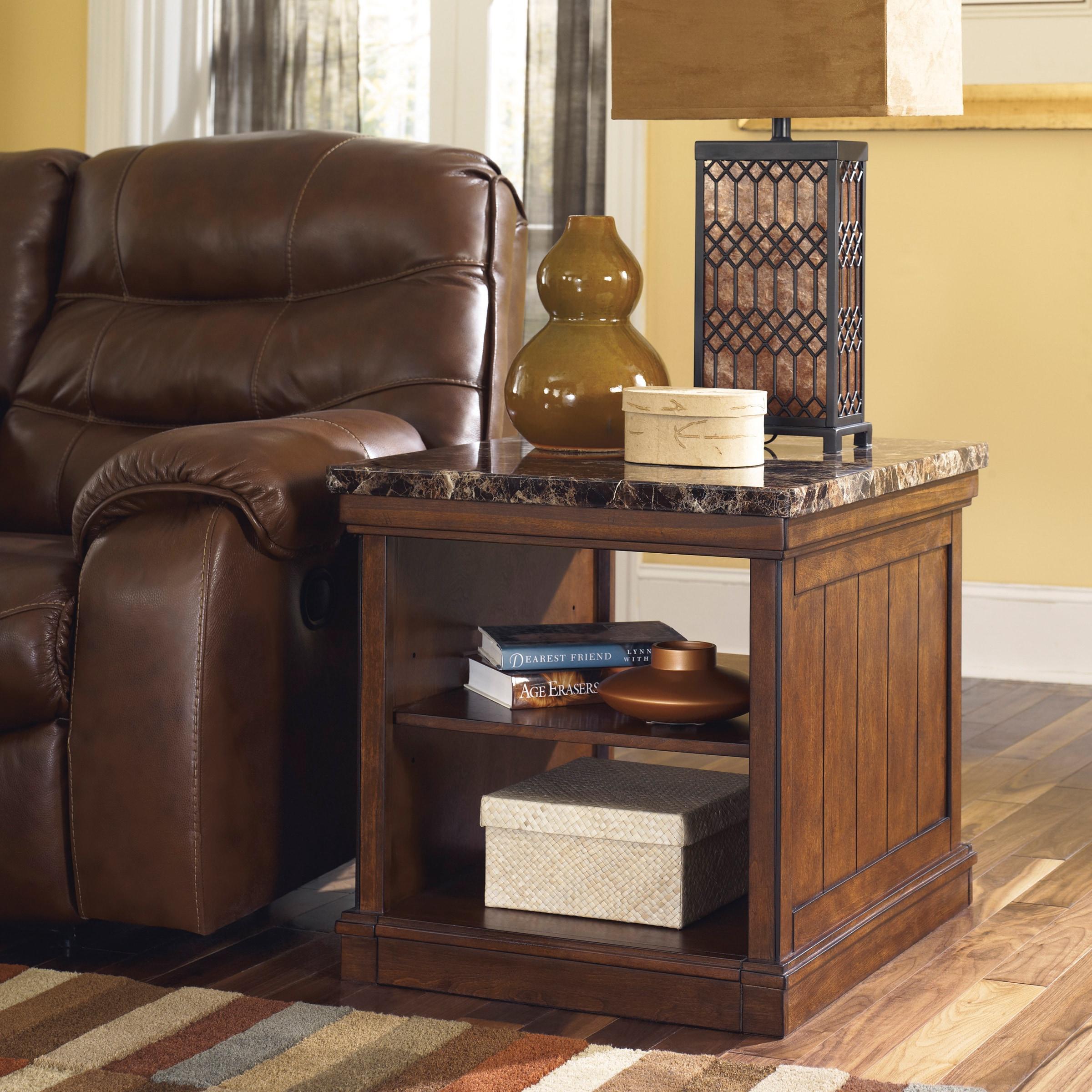 signature designashley merihill medium brown rectangular end table