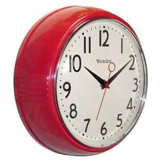 WestClox 9.5-inch Retro Red Deep Wall Clock