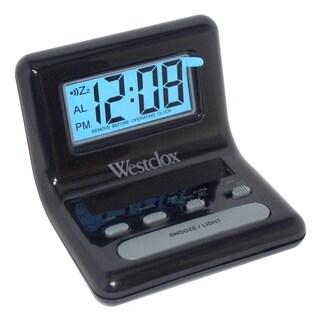 WestClox Black Bedside LCD Alarm Clock